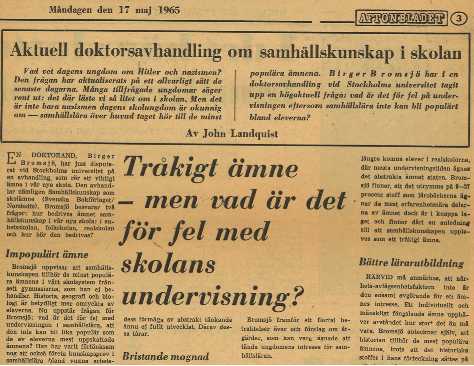 1946 års skolkommission Samhällskunskap – en nykomling i svensk utbildningshistoria. Men  1946 års skolkommission